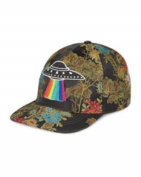 Gucci Floral Baseball Cap With Ufo Black Green