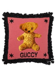 Gucci Teddy Bear Embroidered Wool Cushion Pink Multi