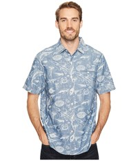 Tommy Bahama Marlin Party Camp Shirt Bering Blue Men's Clothing