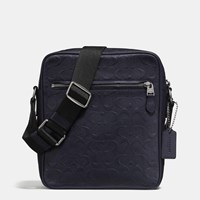 Coach Flight Bag In Signature Crossgrain Leather Black Antique Nickel Midnight Navy