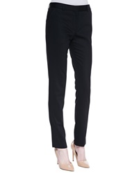 The Row Flat Front Fitted Pants Black