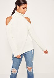Missguided Chunky Cold Shoulder Jumper Cream Ivory