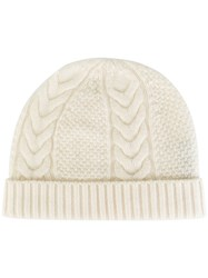 N.Peal Cashmere Cable Knit Beanie White