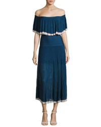 Herve Leger Off Shoulder Pleated Chiffon Midi Dress Navy