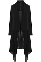 Gareth Pugh Draped Stretch Silk Chiffon Coat Black