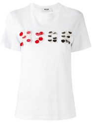 Msgm Logo Embellished T Shirt White