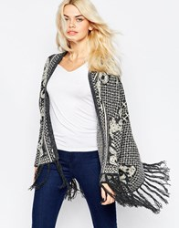 La Fee Verte Printed Oversize Knit Cardigan With Tassles Monarchy