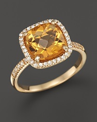 Bloomingdale's Citrine And Diamond Cushion Cut Ring In 14K Yellow Gold Orange Gold