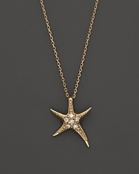 Bloomingdale's Diamond Starfish Pendant Necklace In 14K Yellow Gold .06 Ct. T.W.