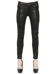 Balmain Coated Stretch Cotton Denim Biker Jeans