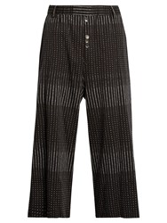 Damir Doma Payce Spot Print Cotton Cropped Trousers Black Multi