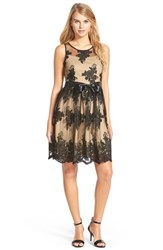 Junior Women's A. Drea Lace Illusion Skater Dress
