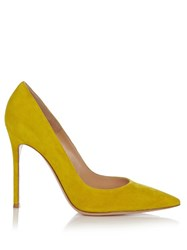 Gianvito Rossi Point Toe Suede Pumps Dark Yellow