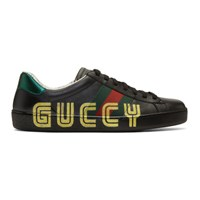 Gucci Black New Ace 'Guccy' Sneaker