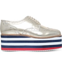Kg By Kurt Geiger Klash Metallic Brogue Flatforms Gold
