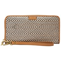 Fossil Emma Large Rfid Zip Clutch Purse Natural