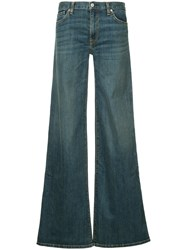 Nili Lotan Flared Buttoned Jeans Cotton Polyurethane Blue