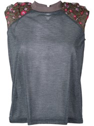 Kolor Floral Accent Crew Tank Women Polyester 2 Grey