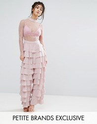 True Decadence Petite Lace Top Jumpsuit With Ruffle Detail Pink