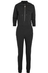 Dkny Cara Delevingne Hooded Cotton French Terry Jumpsuit Black