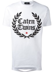 Dsquared2 Caten Twins Cut Out Detail T Shirt White