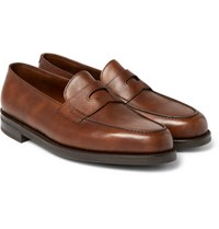 John Lobb Lopez Pebble Grain Leather Penny Loafers Brown