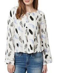 Buffalo David Bitton Feather Print Tie Front Blouse