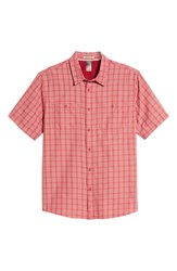 Quiksilver Waterman Collection Wake Plaid Regular Fit Performance Sport Shirt Mineral Red