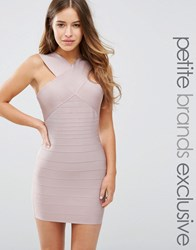 Missguided Petite Exclusive Cross Front Bandage Dress Mauve Pink
