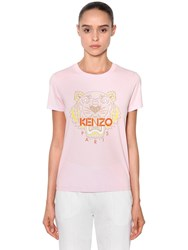 Kenzo Tiger Printed Cotton Jersey T Shirt Pink