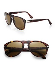 Persol Retro Keyhole Acetate Sunglasses Havana Brown