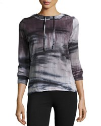 The Balance Collection Back Surplice Tie Dye Hoodie Gray Pattern
