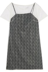 Vionnet Layered Silk Leavers Lace Top White