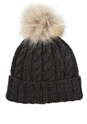 Crown Cap Men's Fur Embellished Marled Lambswool Blend Beanie Dark Grey