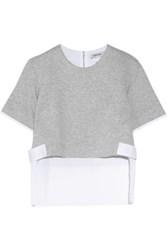 Tim Coppens Poplin Paneled Cotton Blend Jersey Top Gray