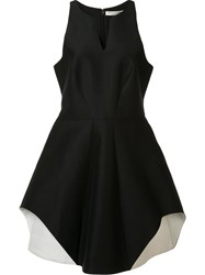 Halston Heritage Round Slit Neck Dress Black