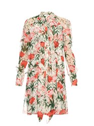 Erdem Stevie Carnation Print Silk Voile Dress Red White