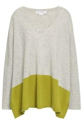 Amanda Wakeley Color Block Cashmere Sweater Sage Green