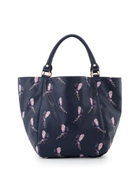 Deux Lux Bird Printed Large Tote Bag Navy