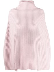 Pringle Of Scotland Cropped Ribbed Poncho Pink