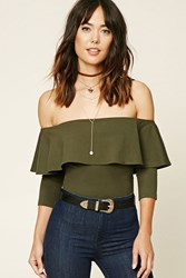 Forever 21 Contemporary Flounce Bodysuit Olive