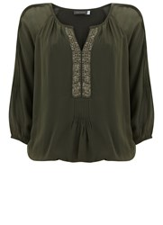 Mint Velvet Khaki Sequin Placket Blouson Green