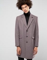 Asos Wool Mix Overcoat In Heather Marl Taupe Purple