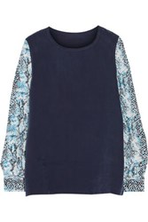 Equipment Femme Printed Washed Silk Top Navy