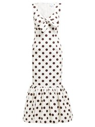 Rebecca De Ravenel Polka Dot Print Cotton Poplin Midi Dress White Multi