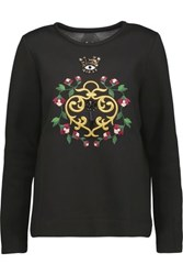 Mother Of Pearl Edith Embellished Embroidered Cotton And Modal Blend Sweatshirt Black