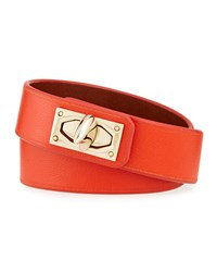 Calf Leather Shark Lock Wrap Bracelet Orange Givenchy