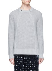 Sacai Double Zip Front Waffle Sweater Grey