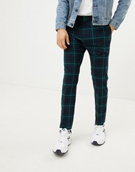 Weekday Tailored Trousers In Green Check Blue