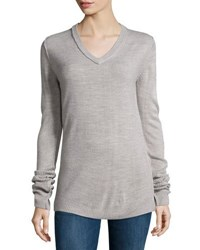 Lenox V Neck Long Sleeve Sweater Heather Gr